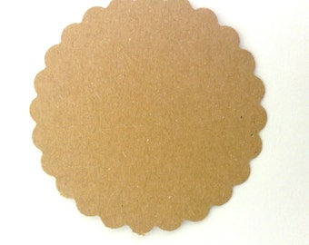 Kraft Cardstock, Tags, Gift Tags, Earring Cards, Jewelry Cards, Scalloped