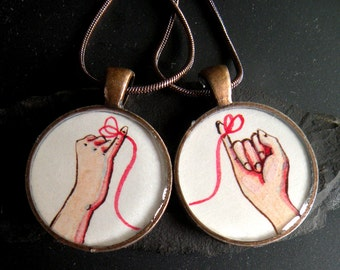 best friend necklace set, friendship necklaces, red string of fate