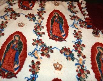 Virgin Mary (Virgen de Guadalupe)  Fleece Ties Blanket