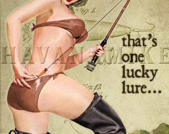 LUCKY LURES Vintage FISHING Pinup Girl Poster Print