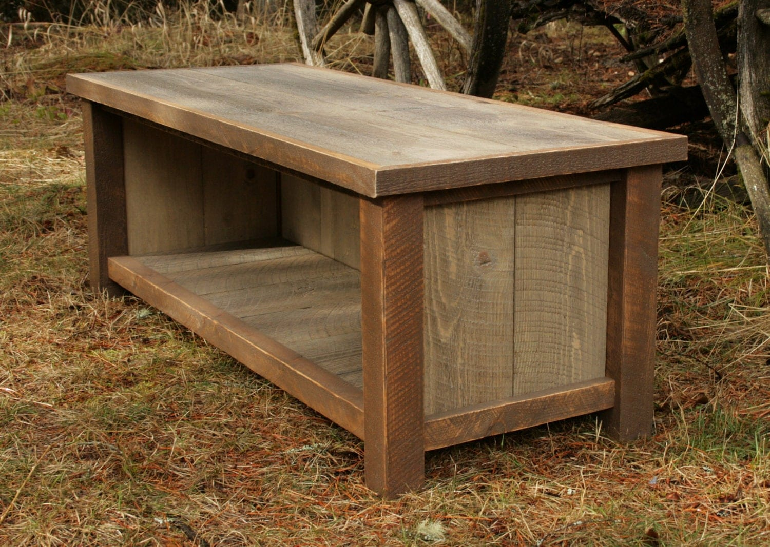 Rustic Wooden Foyer Bench : Rustic reclaimed entry bench and shelf combo by echopeakdesign