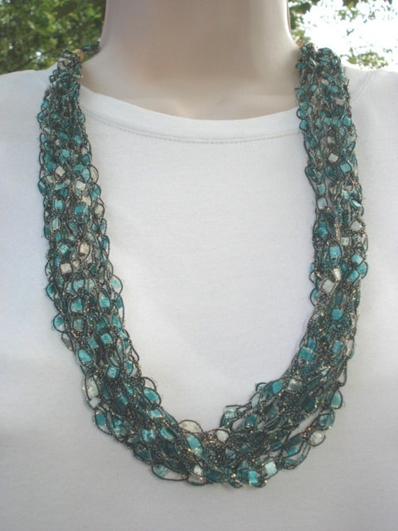 Ladder Yarn Necklace Crocheted Necklace Made With Trellis