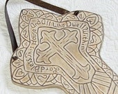 Ceramic Wall Hanging Cross 'Lord Bless This House and All Who Dwell Within''