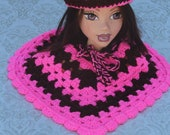 Pink and Brown Hand Crocheted Baby Girls Poncho and Hat Set. Ready To Ship