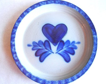 Vintage Edlrith Pottery Salt Glazed Heart Motif Plate, Country Cottage Chic.