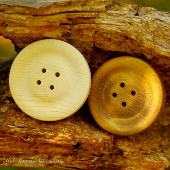 """2 Large Wood Buttons 4"""" - Big Wooden Buttons - 4 Inch Buttons 2 Per Order"""