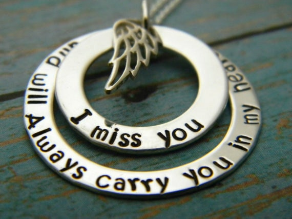 I Miss You And Always Will, Sterling Silver, Custom Made, Personalized, My Angel, Remembrance, Memorial, Mommy Name Necklace, Angel Wings