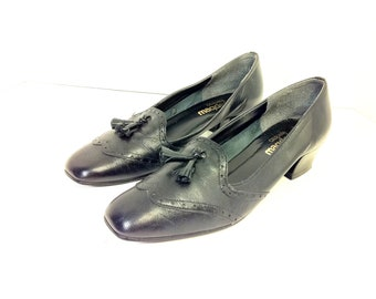 Leather Wingtip Loafer Heels with Tassel 8 - Black Preppy Tassel Loafers 8
