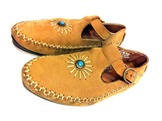 Southwest Leather Moccasin Mary Janes 8 - Turquoise Concho Chestnut Moc Booties 8