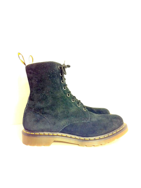 black leather doc marten combat boots 11 by melissajoyvintage