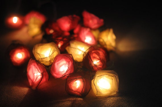Red String Lights For Bedroom : 20 pastel roses string light classic pink red white by cottonlight