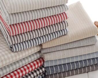 Sale- Cotton Linen/ Stripe Fabric/ Linen/ Linen Cotton/ Linen Fabric Navy Denim Blue Coffee Stripe - A half yard