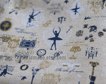Linen Cotton Blended Fabric, Vintage Dream Ballet dancing girls, Ballet dancers linen cotton fabric by Yard - A Half Yard