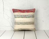 18 x 18 Decorative Pillow Accent Pillow Throw Pillow Rag Rug Vintage Kilim Pillow Cover Cushion Bohemian Pillow Cover - 02633-57