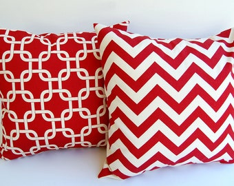 NEW Throw pillow covers set of two cushion covers Red and Natural chevron zig zag