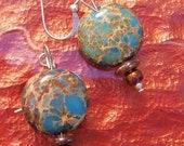 aqua terra jasper semi-precious gemstone earrings