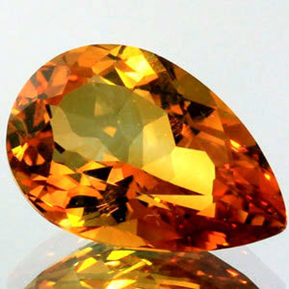 3.37Ct.Unheated Faceted Loose Gemstone Gold Citrine Pear Handcut Gemstone