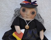 SALE! Fretta's Hand stitched all natural Halloween Witch (01). Primitive doll. Folk Doll, Child Friendly Rag Doll.