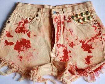 Levi's Shorts Denim High Waisted Vintage Destroyed Cut Off Jeans Acid Wash