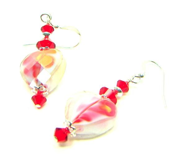 Faceted Heart Earrings, Flower Earrings, Red Crystal Earrings, Yellow, Red, Sterling Silver, Swarovski Crystals, Czech Crystal Earrings