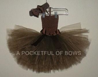 Brown Tutu Dress, Brown Toddler Tutu Outfit
