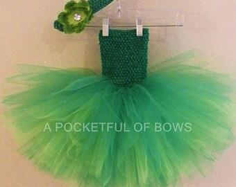 Green Tutu Dress, Green and Lime Tutu Dress, Toddler Green Tutu Dress