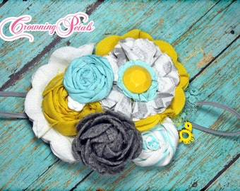 Aqua, Mustard Yellow, Grey Fabric Flower Headband, Gray, Turquoise Hair Bow, Mint Hair Accessory, White, Hair Clip, Fabric Flower Brooch,