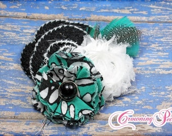 Mint Green, Black, White Hair Bow, Hair Accessories, Turquoise Fabric Flower Headband, Clip, Baby Girl Hair Bow, Hair Piece, Floral Brooch