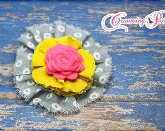 Yellow, Hot Pink, Grey Hair Accessories, Fabric Flower Headband, Hair Bow, Flower Hair Accessory, Baby Girl Headband, Hair Clip