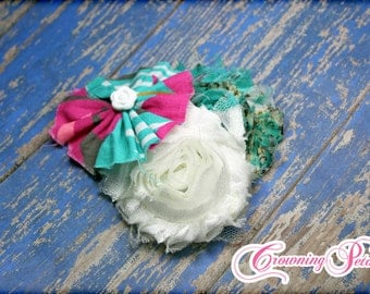 Turquoise, Pink Hair Accessories, Fabric Flowers, Mint Green Headband, Bows, Baby Girl Hair Bow, Newborn Headband, Hair Clips, Mint Green