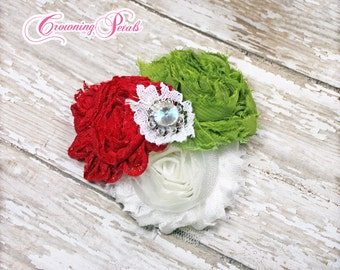 Christmas Headband, Red, Lime Green, White Headband, Holiday Hair Clip, Shabby Chiffon Flower, Ready to Ship, Hair Bow, Hair Accessories