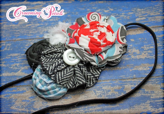 Aqua, Red, Black Hair Accessories, Baby Headband, Women's Fabric Flower Brooch, Baby Girl's Hair Bow, Infant, Hair Piece, Hair Clip