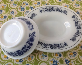 Pair Of Sweet Blue Soap Dishes, Vintage Avon Dish, Vintage Pyrex Dish, Blue and White Kitchen, Farmhouse Kitchen