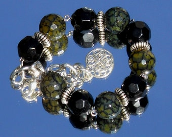 Black and Olive Beaded Bracelet with Silver Tone Accents