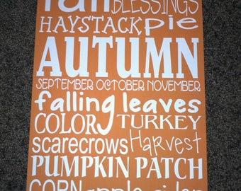 """11.5"""" x 20"""" Fall/Autumn Vinyl Subway Art"""
