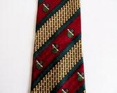 Silk necktie wine red green gold bold pattern necktie retro tie Italian silk striped tie 4 inch wide necktie fleur de lis classic necktie