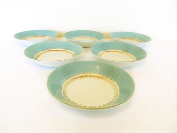 RESERVED Pairs of aqua dessert bowls Wood and Sons Alpine turquoise blue berry bowls gold trim small bowls 1960s dishes butter dish