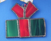Wrapped Present Stained Glass Christmas Tree Ornament
