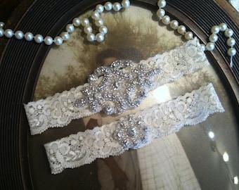 SALE--Wedding Garter - Ivory Lace Garter Set - Rhinestone Garter - Applique Garter - Vintage - Bridal Garter - Vintage Garter - Toss Garter
