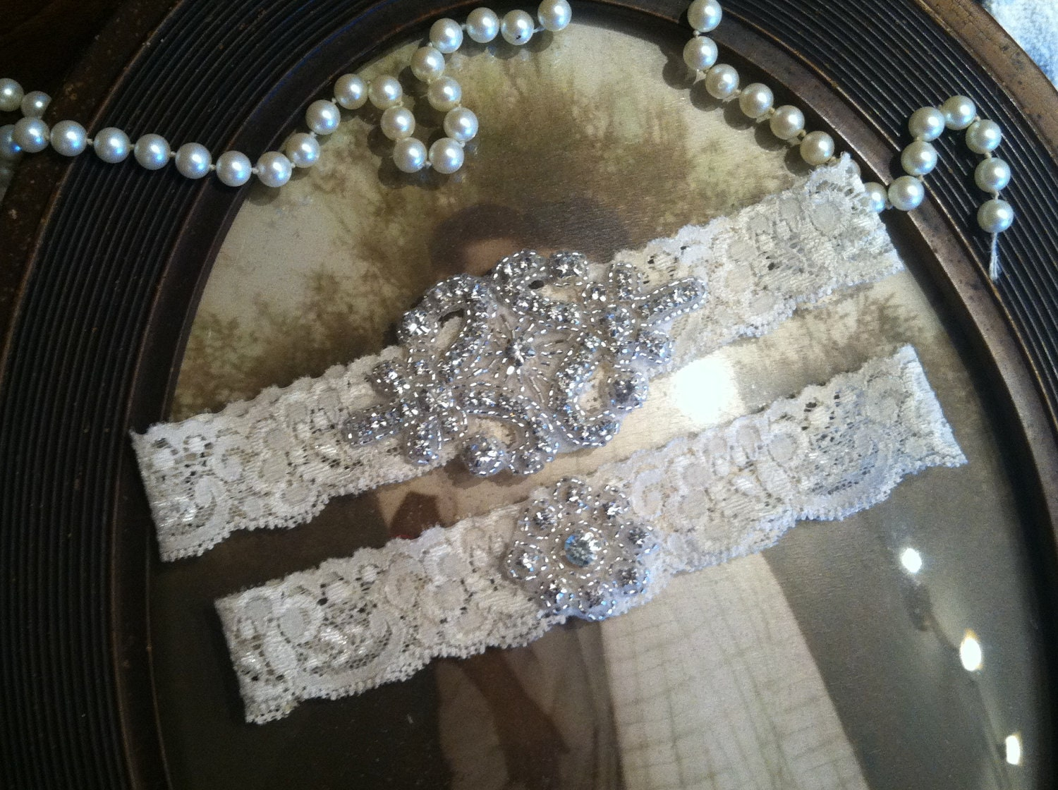 Wedding Garter Wedding sale wedding garter ivory lace set rhinestone