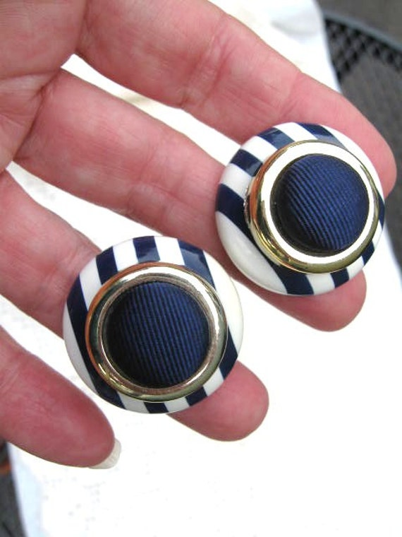 Navy & White Button Style Pierced Earrings with Gold Accent-Vintage