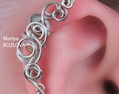 "Left/ Right Ear Upper Cartilage Cuff  ""Fairy Vortices"" No Piercing/ piercing imitation/ Fake faux piercing/ Ear Jacket/ helix manschette"