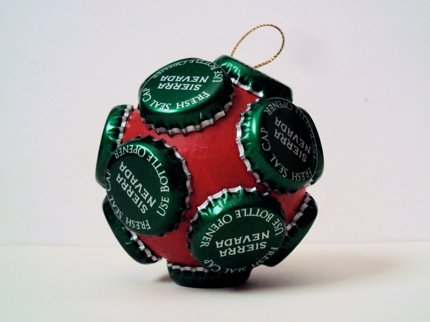 Recycled bottle cap christmas ornament quirky holiday decor for Quirky ornaments