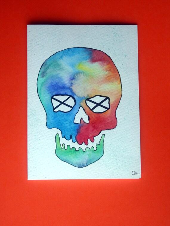 Watercolor card, (N. 26), skull, visage, skull design, watercolor, blank inside, OOAK, halloween, human skull