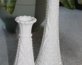 Vintage Milk Glass Vases Set of Two Vases