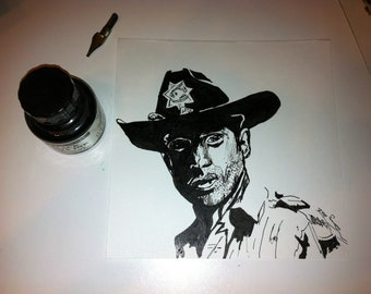 Rick Grimes - Walking Dead - Original Art Ink on 6x6 Smooth Bristol