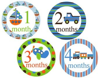 Monthly Baby Boy Stickers Transportation Boy Monthly Stickers Milestone Stickers Month Stickers Baby Monthly Stickers