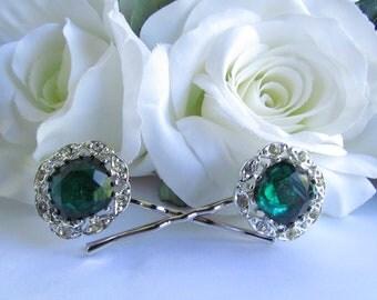 Emerald Green Bridal Hair Accessories, Vintage Emerald Green Hair Pins, Emerald Green Hair Comb Rhinestone, Green Wedding Hair, green hair