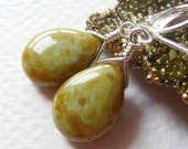 Green and Blue Czech Glass 'Picasso' Pear-Shaped Earrings on Leverbacks. Teardrop. Painted. Brown. Tan. Fall.