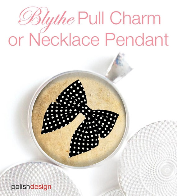 Blythe Doll OOAK Pull Charm or Necklace Pendant Black Vintage Bow